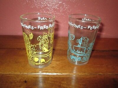 Lot 2 Vintage Flintstones Welch's Glass Jelly Jars Fred Builds & Pebbles  Party