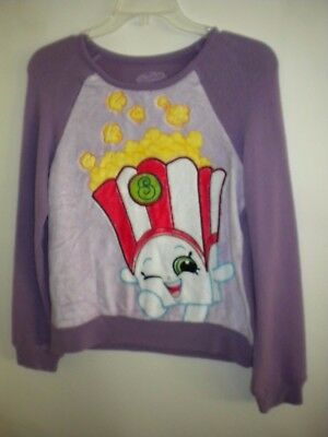 Girl's Purple LS Shopkins Warm Shirt Popcorn Size Large 10-12 NWT NEW