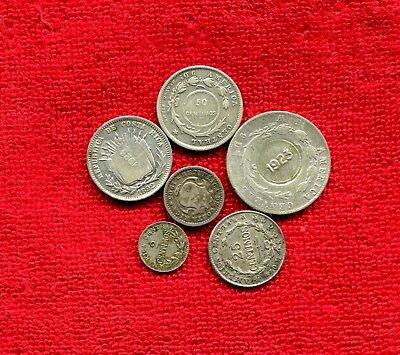 Costa Rica Lot Of 6 Coins 5 Are Silver Nr 25.00