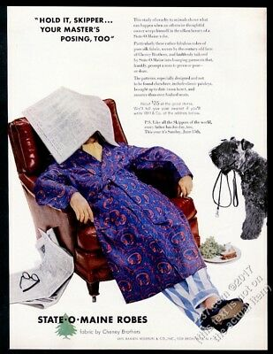 1952 Kerry Blue Terrier photo State O Maine men's robe vintage print ad