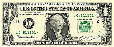 10 of 2006 US 1$ Replacement Bank Notes In Series (L04511101* - L04511110*)