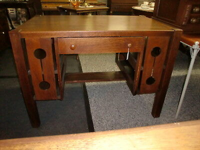 Antique Mission Oak Library Desk Table Stand Heavy One Drawer - ANTIQUE MISSION OAK Library Desk Table Stand Heavy One Drawer