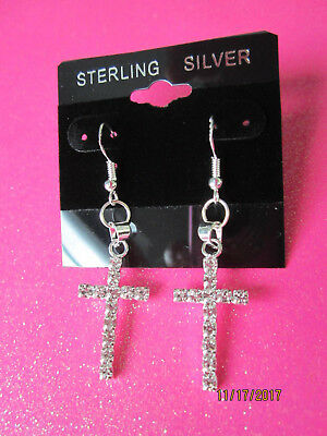 925 Sterling Silver Rhinestone Cross Dangle Earrings