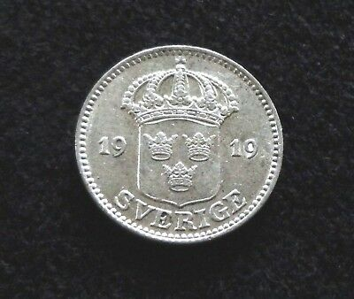 Sweden 1919 25 Ore Silver Coin   Crown Swedish Coins