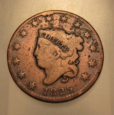 1825 Coronet Head Large Cent Penny - Circulated Condition - 64SA