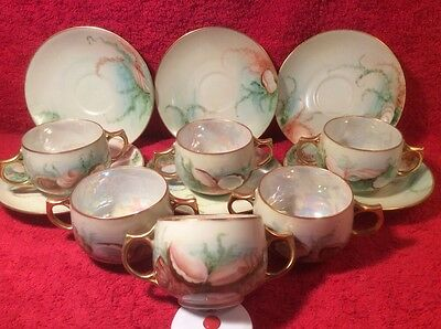 Antique Hand Painted Sea Life & Oyster Cream Soup Bowls & Saucers, p272