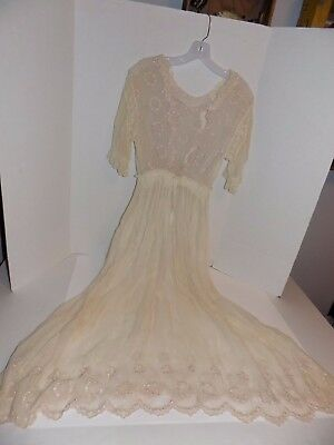 Vintage Sheer Embroidered 1950's-60's (?) Dress Lot #52