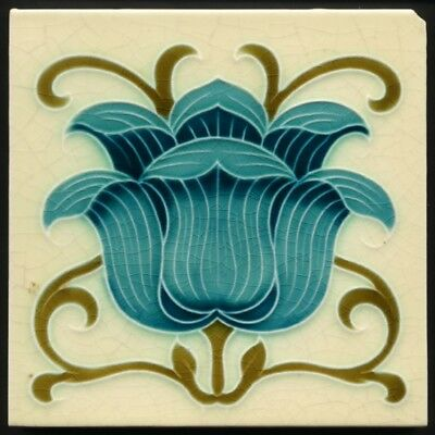 TH2871 Gorgeous Blue Flower Mintons Art Nouveau Majolica Tile c.1900