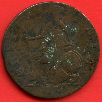 1744 Great Britain Half Penny Coin