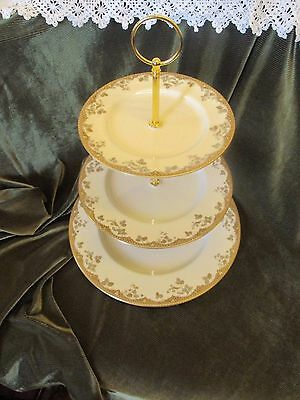 Lovely Vintage Royal Doulton China Plated 3 Tier Cake Stand 'lynnewood'