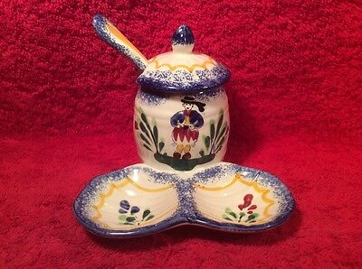 Beautiful Vintage Hand Painted French Faience Open Salt Pepper Condiment w Spoon