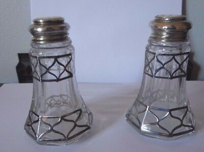 Antique Glass S & P Shakers W/mother Of Pearl Tops Good