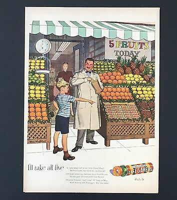 1947 Life Savers Advertisement Candy Fruit Stand Grocer Boy Original Print AD