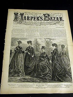 Harper's Bazar May 30 1874 with Rare VICTORIAN EMBROIDERY PATTERN Supplement