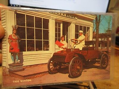 Vintage Old Postcard CAR AUTOMOBILE AUTO 1906 Winston Wooden Indian Brown Store