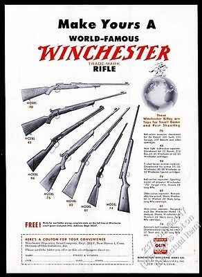 1949 Winchester model 70 43 94 75 62 61 74 rifle photo vintage print ad