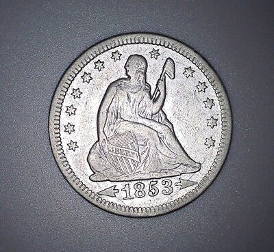 Silver 1853 Seated Liberty Quarter, Arrows and Rays, No Reserve!