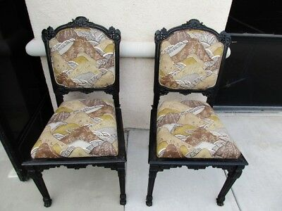 Pair Of Ebonized Aesthetic Japonesque Victorian Parlor Chairs W/ Pawfeet