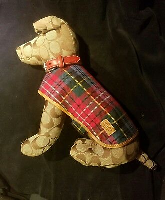 COACH Logo Fabric Leather Trim Stuffed Jack Russell Terrier Dog