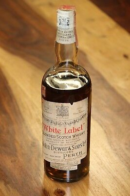 Vintage Scotch Whisky White Label John Dewar & Sons Bottle