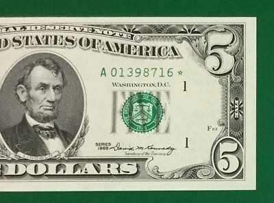 1969 $5 Choice Uncirculated Boston *** STAR *** X816 CV $80 Unc! Old US Currency