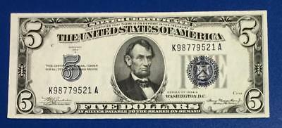 1934A $5 Blue Choice XF SILVER Certificate X521 Old US Paper Money Currency