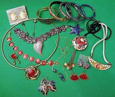 BEAUTIFUL Mixed LOT of Vintage CLOISONNE, GLOSS ENAMEL JEWELRY