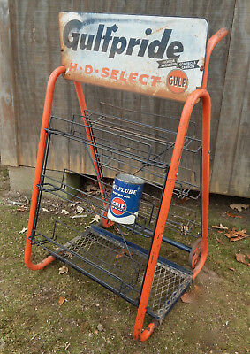 1960's Gulf Gulfpride HD Select Oil can Service Station Rack / Cart 30+ cans