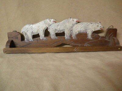 Vintage Hand Carved and Painted Polar Bear Towel Rack