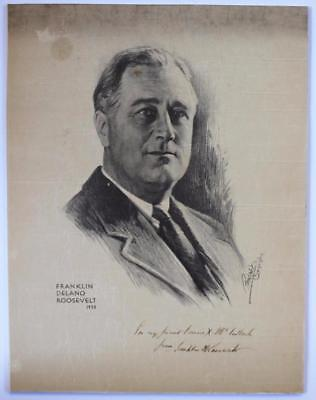 1932 President Franklin D. Roosevelt Fdr Print Autograph Signed To Politician