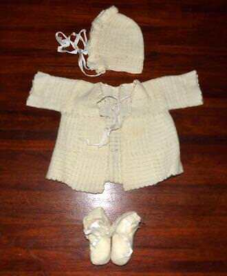 Vintage Hand Made CROCHET BABY SET Bonnet / Matinee Jacket / Booties 1950s 1960s