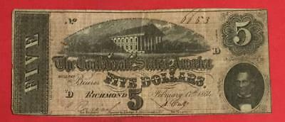 1864 $5 US Confederate States of America! VG! Old US Paper MOney Currency