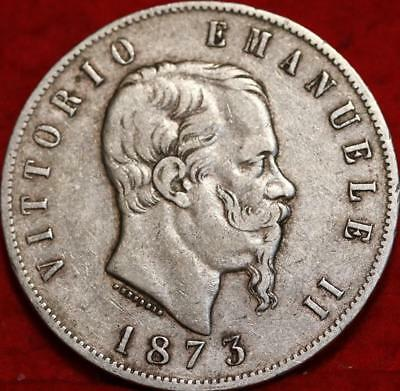 1873 Italy 5 Lire Silver Foreign Coin Free S/H