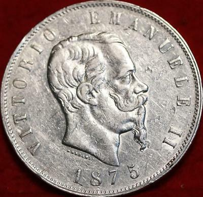 1875 Italy 5 Lire Silver Foreign Coin Free S/H
