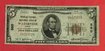 "1929 $5 Brown National Currency ""Waterville Maine"" CV $200 FINE! FINE! Currency"