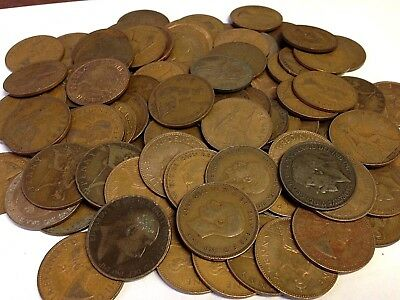 100 x Vintage British Large One Penny, UK copper Pennies Victoria to QEII lot#55