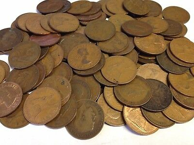 100 x Vintage British Large One Penny, UK copper Pennies Victoria to QEII lot#56