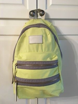 Marc Jacobs Nylon Biker Backpack In Bright Yellow With Gold And Grey Leather