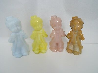 Lot of 4 BOYD Art Glass CHUCKLES the CLOWN Figurines Opaline Colors