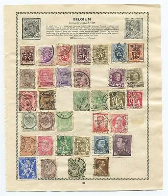 Page of 58 Antique Late 1800's-1933 Belgium Postage Stamps,Belgique Postmarked