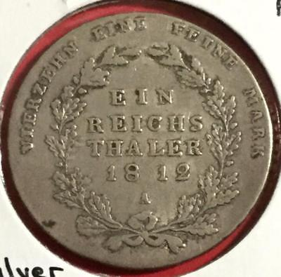 1812 Prussia SLIVER Thaler! Old Prussian Coin!
