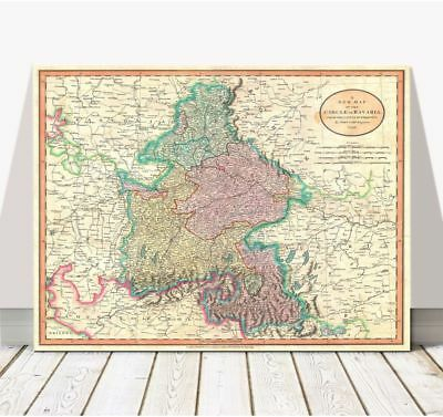 Vintage Cary Map of Bavaria & Salzburg GERMANY 1799 Poster CANVAS PRINT 12x8""