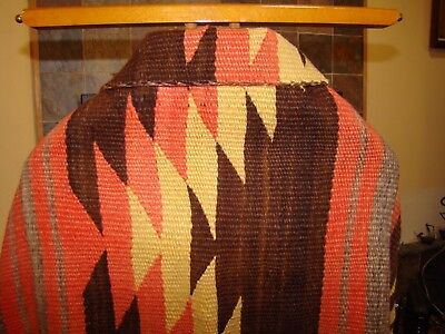 Antique Navajo Blanket Native American Weaving Eye Dazzler Rug Natural Brown