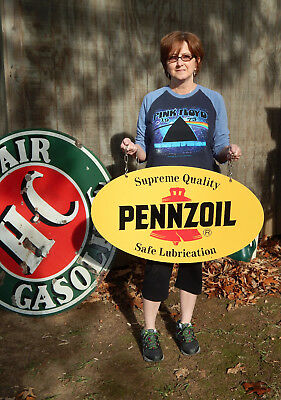 """Vintage Pennzoil Pennsylvania Oil double sided oval metal sign 31"""" excellent!"""