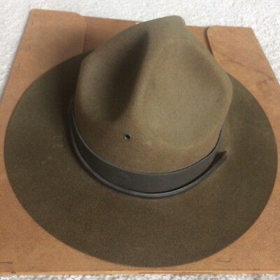 Vintage Boy Scouts of America Scout Master 100% Wool Campaign Hat 7.5 w/ Press
