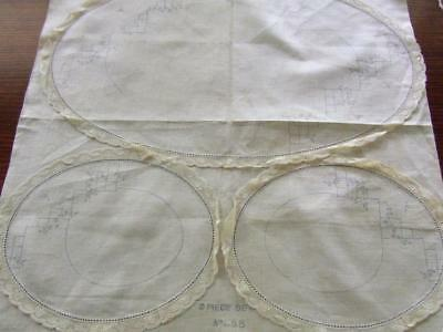 For the Embroiderer - Unworked Vintage Duchess Set with Attached Lace Edging