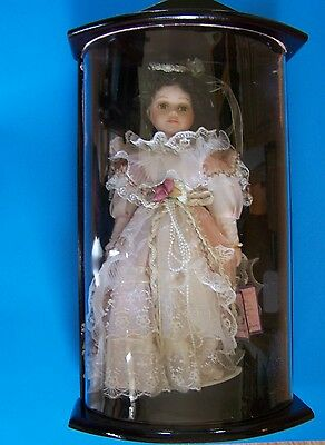 "16"" Molly Porcelain Doll / Wooden Display Case New"