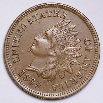 1869 Indian Head Small Cent CHOICE AU+/UNC FREE SHIPPING E138 UENT