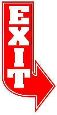"RED EXIT L ARROW Metal Sign 6/""x12/"" Art Deco Retro Vintage Design Hotel Building"