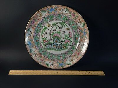 Rare Antique Chinese  Famille Rose Porcelain Plate with Zhao Feiyan Swallows 赵飞燕